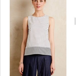 Anthropologie contrast stripe tie back cutout top